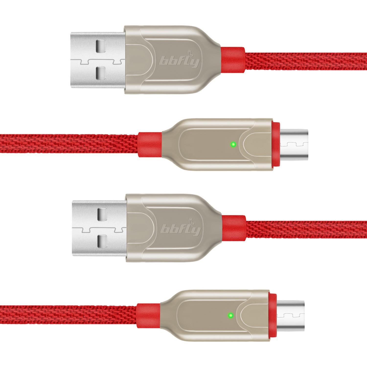 bbfly-L15 [2-Pack,3ft] Micro USB Cable Android, Micro USB (Red)