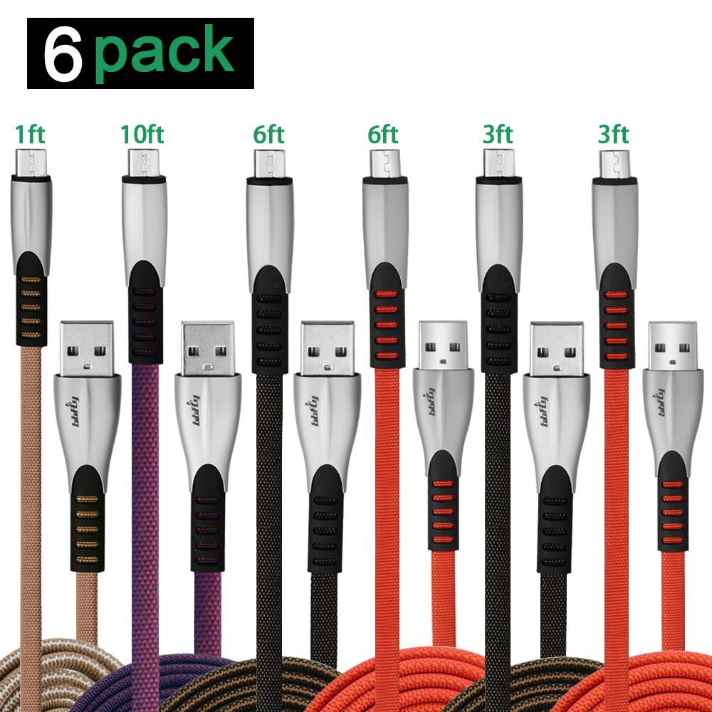 Bbfly-L55 [6-Pack] Micro USB Cable Android